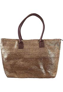 Bolsa Shopper Fibra Metalizada Bronze