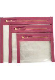 Kit Necessaire De Couro Yasrro Cristal Rosa