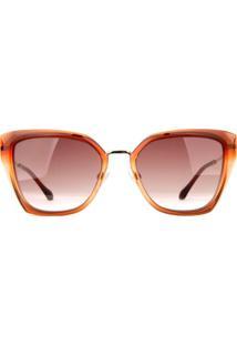 Óculos De Sol Ana Hickmann Ah9290 C02/55 Laranja Transparente/Dourado - Kanui
