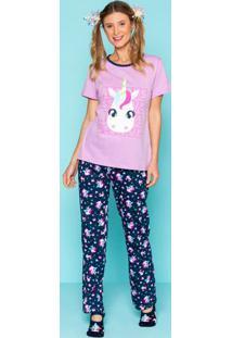 Pijama Unicã³Rnio- Lilã¡S & Azul Marinhopuket