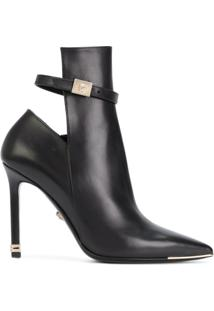 Versace Ankle Boot De Couro - Preto