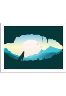 Quadro Decorativo Lobo Uivando Branco - Médio