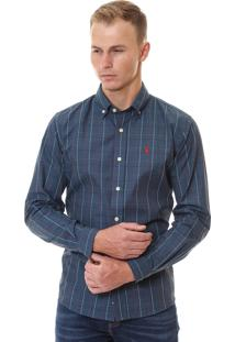 Camisa Ralph Lauren Fine Lines Custom Fit Azul E Vermelho