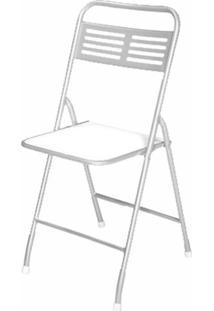 Cadeira Dobrável Metalnew Millenium Aço Com Assento Branca