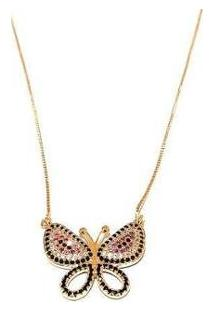 Corrente Pingente Borboleta Colorida Em Zircônias, Banhado - Feminino-Dourado