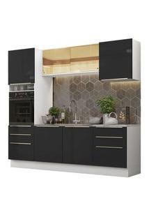 Cozinha Completa Madesa Lux 240002 Com Armário E Balcão Branco/Preto Branco