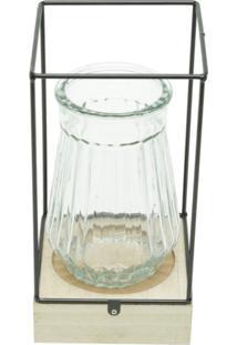 Vaso De Vidro Com Led E Suporte De Madeira Glass Preto Urban Home