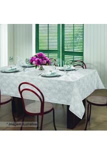 Toalha De Mesa Gardênia Elegance- Branca & Cinza Claro