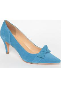Scarpin Em Couro Com Laã§O - Azul- Salto: 7Cm -Luiza Barcelos