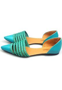 Sapatilha Love Shoes Aberta D'Orsay Tresse Trançado Azul Turquesa
