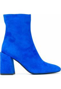 Furla Ankle Boot Com Zíper Lateral - Azul