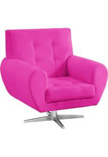 Poltrona Decorativa Beluno Suede Pink Base Estrela Aço Cromado - D'Rossi