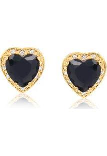 Brinco Pequeno Com Pedra Natural Formato De Coração Rodeado De Zircônias Folheado Francisca Joias - Feminino-Dourado