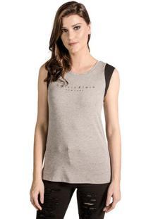 Occhi Azzurri. Regata Decote Redondo Ombro De Grife Destroyed Flexível Feminina  Calvin Klein Fashion Detalhe 443399e4a6