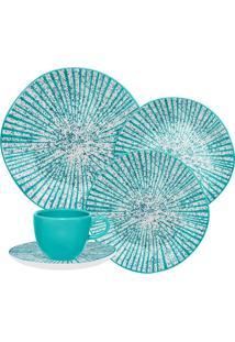 Aparelho De Jantar Oxford Ryo Time 20 Peças Porcelana Azul