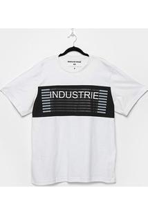 Camiseta Industrie Faixa Listras Plus Size Masculina - Masculino-Branco