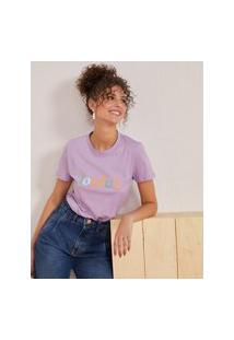 Amaro Feminino T-Shirt Joyfull Color, Lilás
