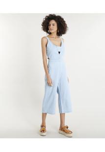 Macacão Jeans Feminino Pantacourt Com Vazados Azul Claro