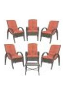 Jogo Com Cadeiras 6Un E Mesa P/ Jardim Edicula Varanda Descanso Trama Napoli Plus Pedra Ferro A40