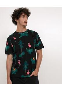Camiseta Com Estampa Flamingos