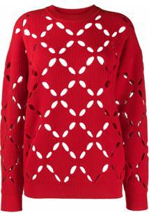 Versace Suéter De Tricô Com Recorte A Laser - Vermelho