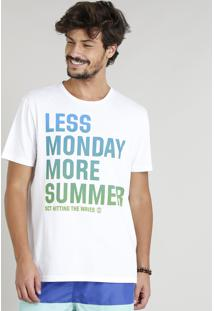 "Camiseta Masculina ""Less Monday More Summer"" Manga Curta Gola Careca Branca"
