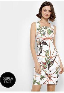 Vestido Dupla Face Forum Estampado Feminino - Feminino-Branco+Preto