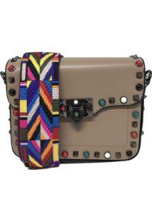 Bolsa Casual Transversal Alça Colorida Sys Fashion 830302 Caqui
