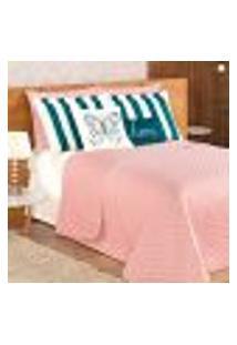 Kit Cobre Leito Queen Size Rosê Clássico Matelado 9 Peças Completo Com Porta Travesseiro E Almofadas Decorativas
