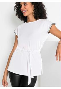 Blusa Em Crepe Com Amarração Na Cintura Branca
