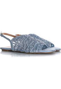 Sandália Rasteira Priscila Em Renda Azul Claro - Kanui