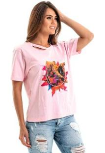 Camiseta Equivoco Egito Feminina - Feminino-Rosa Claro
