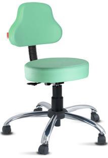 Cadeira Mocho Verde Água Plus Cromada Giratória