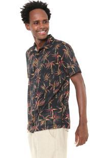 Camisa Redley Reta Estampada Tropical Preta/Verde