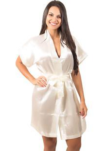 Robe Bella Fiore Modas De Cetim Liso Bege