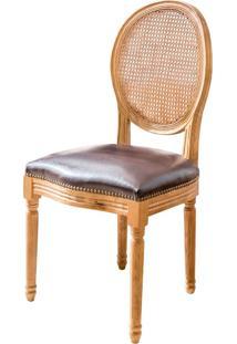 Cadeira Medalhão De Madeira Sem Braço Assento De Couro Encosto De Palha