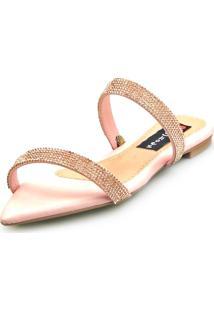 Sandalia Love Shoes Rasteira Bico Folha Strass Delicada Rosê - Kanui