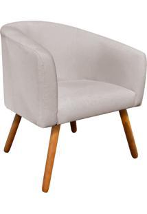 Poltrona Decorativa Stella Linho Bege Texturizado A54 Pés Palito - D'Rossi