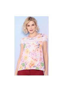 Blusa Floral - Rosa Claro & Lilás