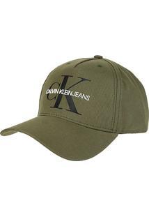 Boné Calvin Klein Aba Curva Logo Re Issue - Masculino-Verde Militar