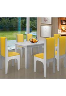 Conjunto Mesa Com 6 Cadeiras - Miami - Dobuê - Branco / Canário