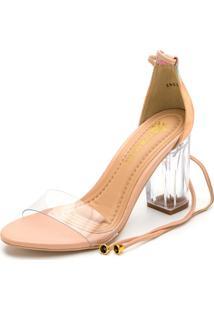 Sandália Salto Alto Grosso Transparente Tie Dye Rosa - Kanui