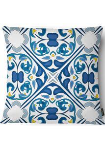 Capa Para Almofada Em Linho Garden 43X43Cm Azul E Branca
