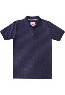 05b78ca162 ... Camisa Pau A Pique Polo Estampada Azul Marinho
