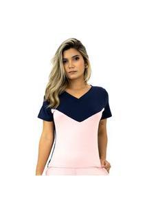 Blusa Feminina Comfy Conforto Manga Curta Gola V Bicolor