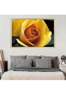 Quadro Love Decor Com Moldura Rosa Amarela Madeira Clara Grande - Multicolorido - Dafiti