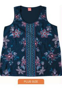 Blusa Azul Escuro Floral Com Cetim Wee!