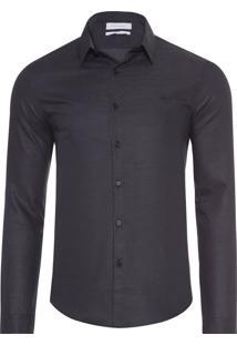 Camisa Masculina Slim Geneva Dots - Preto