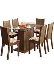 Conjunto De Mesa Com 6 Cadeiras Gales Rustic E Floral Hibiscos