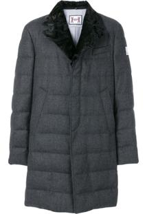 Moncler Trench Coat Com Pele De Raposa - Cinza